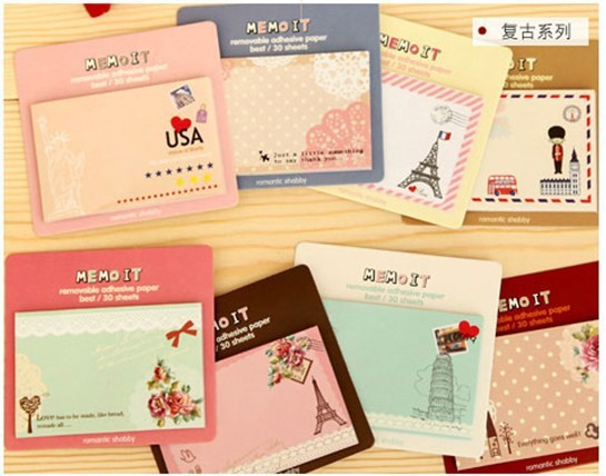 . antique lovely sweet travel Notepad . sticky note memos notenote books memoss . message post . Removable adhesive paper . new(China (Mainland))
