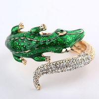 2013 Top grade fashion design alloy crocodile statement bangle for women with rhinestone, Free shipping
