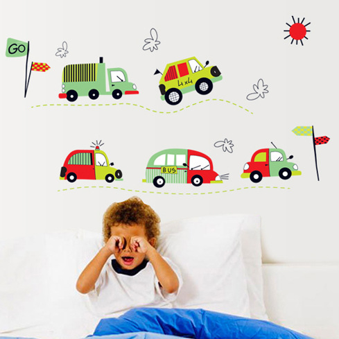 2013 free shipping kids Removable vinyl wall stickers cars for kids rooms 3d home decor decals Poster AY7012(China (Mainland))