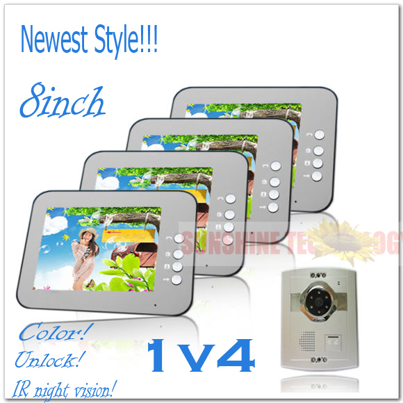 Newest style 8inch color video doorphones intercom systems (Unlock,Handsfree,Night vision) 4 indoor units + 1 outdoor unit(China (Mainland))
