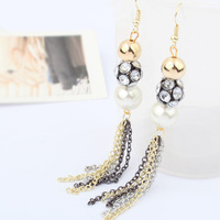 Accessories earrings pearl long tassel design fine earrings 4156