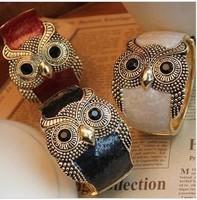 Min. order $9 Fashion vintage punk oil owl bracelet hand ring SL022