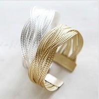 Min. order $9 Alloy knitted twisted metal rattan Women wide bracelet