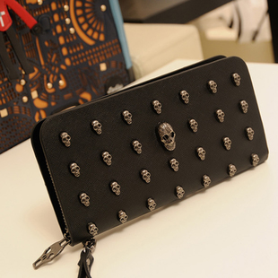 2013 wallet long design women's wallet vintage punk skull rivet day clutch(China (Mainland))
