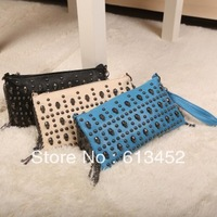 Punk skull  rivet chain small bag 2013 new fashion women's handbags messanger tote bag pu leather FREE SHIPPING tote summer bag