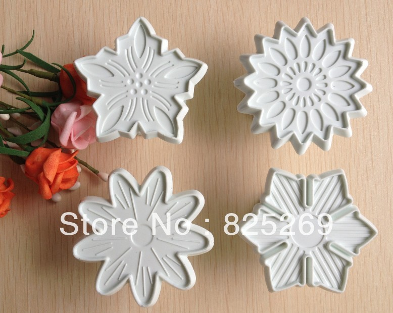 Free shipping 4PCS Sun Flower shape mold sugar Arts set Fondant Cake tools/cookie cutters(China (Mainland))