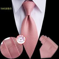 Brand New Necktie Polyester hot pink striped Handmade Men's PINK Tie T695