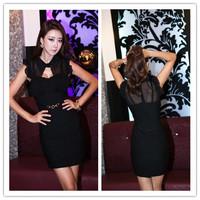 2013 women's  Free Shipping Charming Hollow Bowknot Slim Sleeveless Dress Black  WL13040604