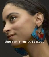 ERH785-1 Europe&US Wholesale Fashion Earring Jewelry Dark Blue and Red Natural Feather Earrings Hoop Earrings For Women