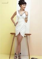 2013 women's New Free Shipping Charming Gems Embellished V-neck Sleeveless Dress White LF13040703
