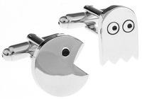 Classic Silver Tone Pac-Man Designer Cufflinks Paly Game Novelty Men Shirt Cuff links   jewelry  cufflinks for mens A0975