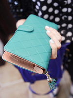 Pear doll wallet female candy tassel design plaid long women's wallet q135