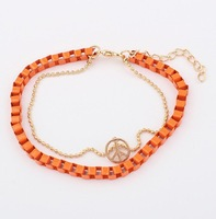 Min order 1 pc multilayer pendant fashion leather cord woven bracelet Free shipping orange color