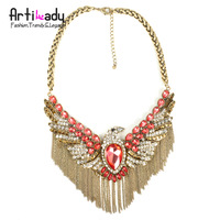 Arilady punk bird statement necklace antic brass plating choker chunkey neckace