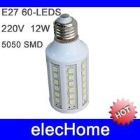 Hot selling! 60LEDS E27 12w energy saving corn light E27 AC 210-240V 220V 230V 240V 5pcs/lot White and Warm white Free shipping
