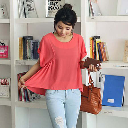 Brief Fashion 2013Summer Womens O-Neck Solid Cotton Irregular Top Loose Shirt Blouse Casual Petal Short Sleeve White/Orange(China (Mainland))