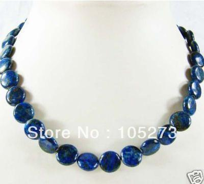 Hot Sale Gem Stone Jewelry 12mm Coin Shaper Blue Lapis Lazuli Jade Circle Beads Necklace 18'' Fashion Jewelry New Free Shipping(China (Mainland))