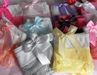 wholesale lovely cute multi-color lace hem bowties shape girls panties