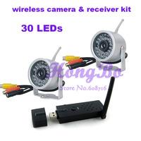 100M open transmission ,30 IR lED 2.4G Mini Wireless Camera (2pcs)with audio  USB wireless receiver(1pcs) Kit
