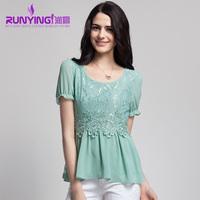Cool 2013 lace chiffon shirt short-sleeve o-neck pullover cutout female top