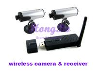 2.4G Wireless IR night vision Mini camera(2pcs) plus USB wireless receiver (1pcs)Kit