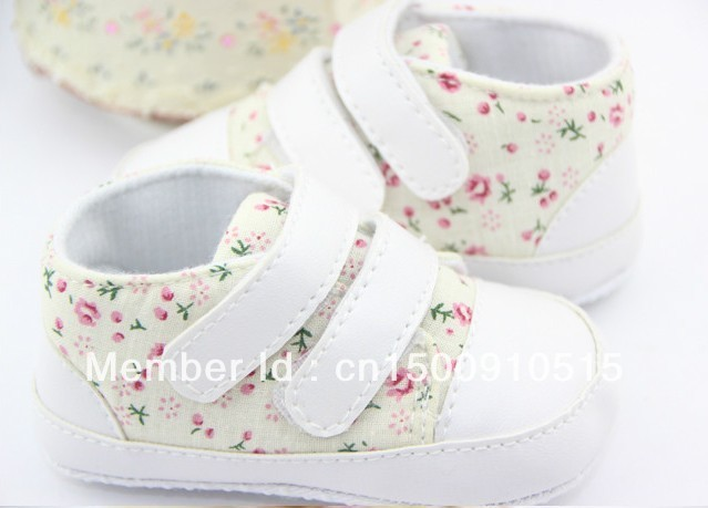 Free Shipping 2pairs/lot Hot sale Anti-slip Full floral Baby Shoes Girl Toddler Soft Sole first Walker(China (Mainland))