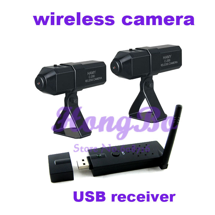 100M open transmission 2.4G Wireless Mini CCTV camera (2PCS) plus USB wireless receiver(1PCS) Kit(China (Mainland))