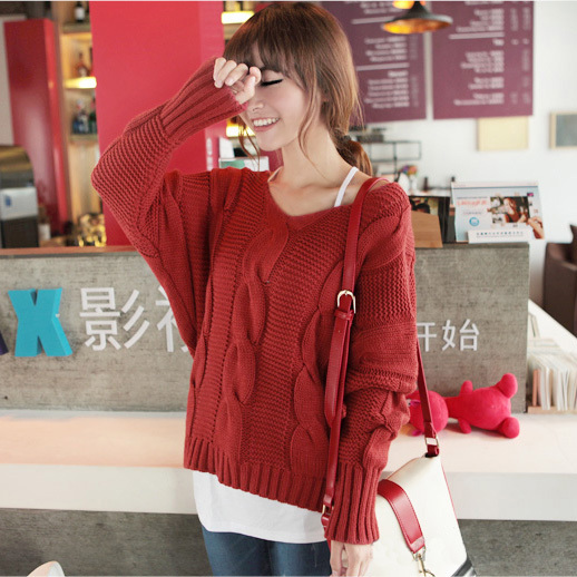 Autumn and winter sweater outerwear female V-neck vintage sweater bat loose thickening women's basic shirt(China (Mainland))