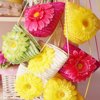 Free Shipping 2013 women messenger bag Girl's women handbag Sweet Flower Straw Bag  Baby bag Girls Favorite Bags Flower Bag
