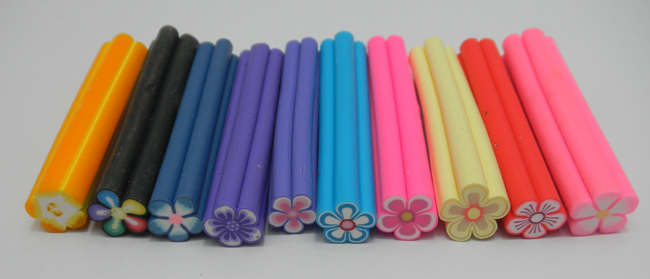 HOT SALE Free shipping 50PCS Mix Flower Fimo Cane Rods Slice Decoration 3D DIY Tips(China (Mainland))
