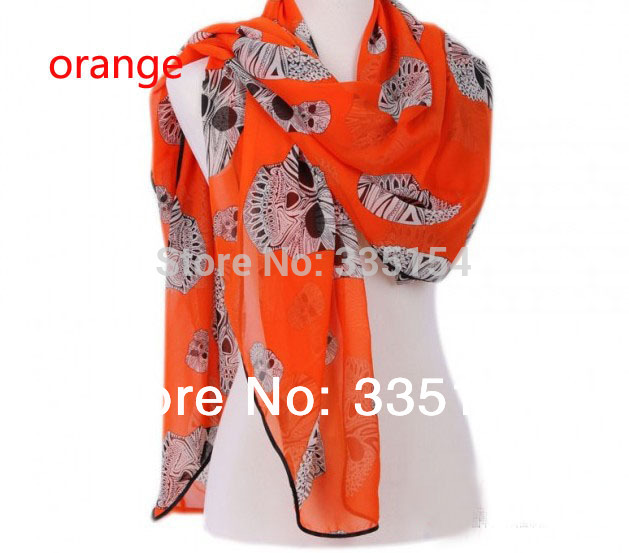 2013 Women Beach Shawls Skull Silk Chiffon Square Scarf Wraps 8colors MIN $15 FREE SHIPPING(China (Mainland))