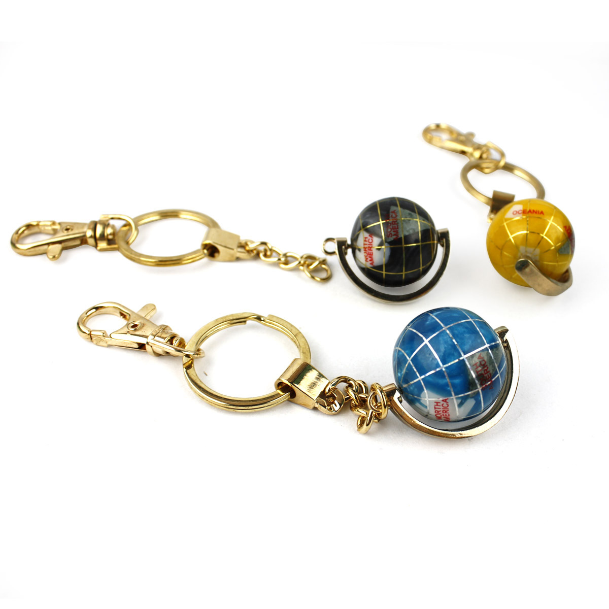 Light gem globe key chain bags buckle car hangings keychain jiaba(China (Mainland))