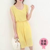 free shipping 2013 summer women's brief o-neck slim waist pleated chiffon one-piece dress female summer af445
