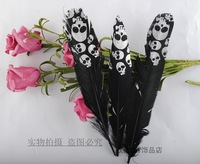 Top Quality Print Silver Skull Black Feather,50pcs/lot, Length About 13CM,Beautiful Feather