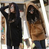Hot cheap 2013 casual leopard fashion long-sleeved hooded thick sweatshirt jacket