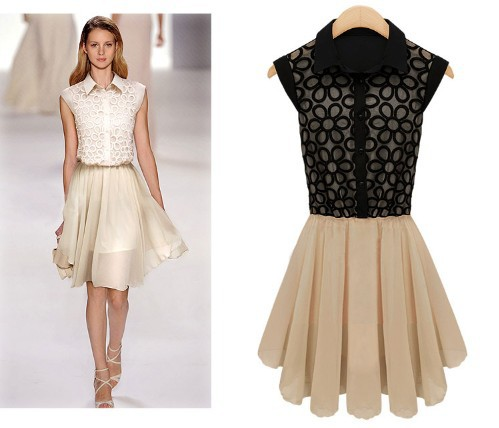 2013 New Fashion Free Shipping Korean Lapel Sleeveless Dress Stitching Pleated Chiffon Lace Dress L11(China (Mainland))