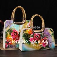 2014 Fashion Flower Shaping Women Handbag Totes Hard Surface PU Messenger Bag High Quality Metal handle handbags FREE SHIPPING