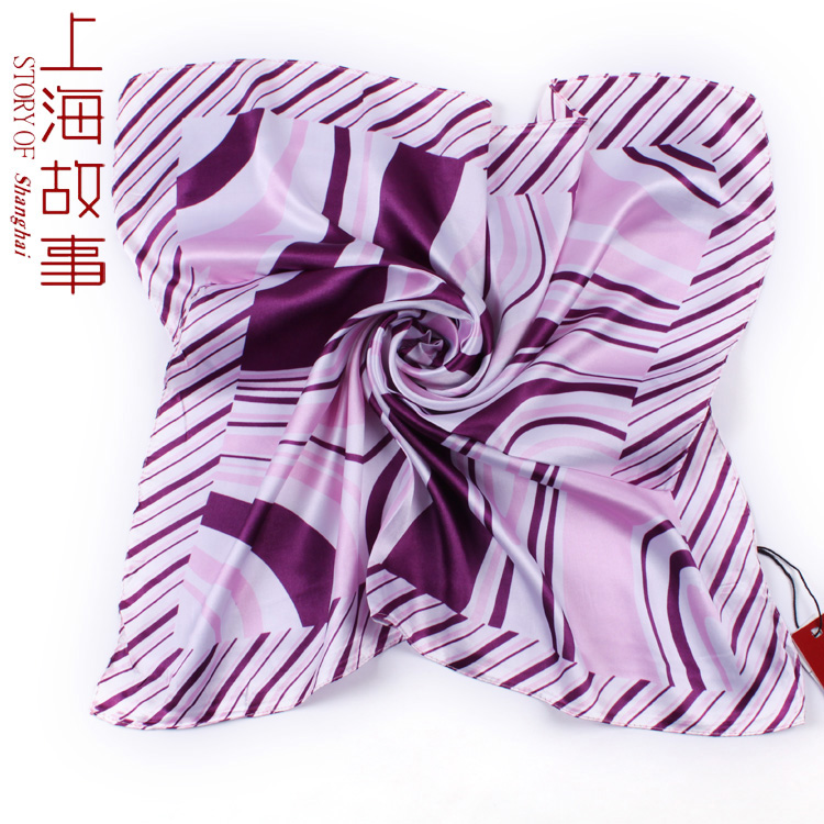 Scarf small facecloth silk scarf satin small facecloth in square work wear stripe scarf(China (Mainland))