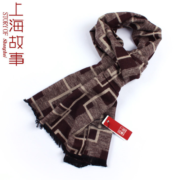 Silk brushed scarf male business gift square plaid(China (Mainland))