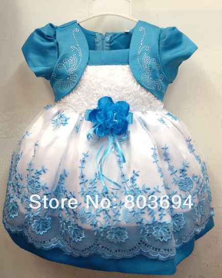 wholesale 2013 new summer party dress,girl princess dress,KID dress with flower, 4 pcs / lot free shipping AL-99(China (Mainland))