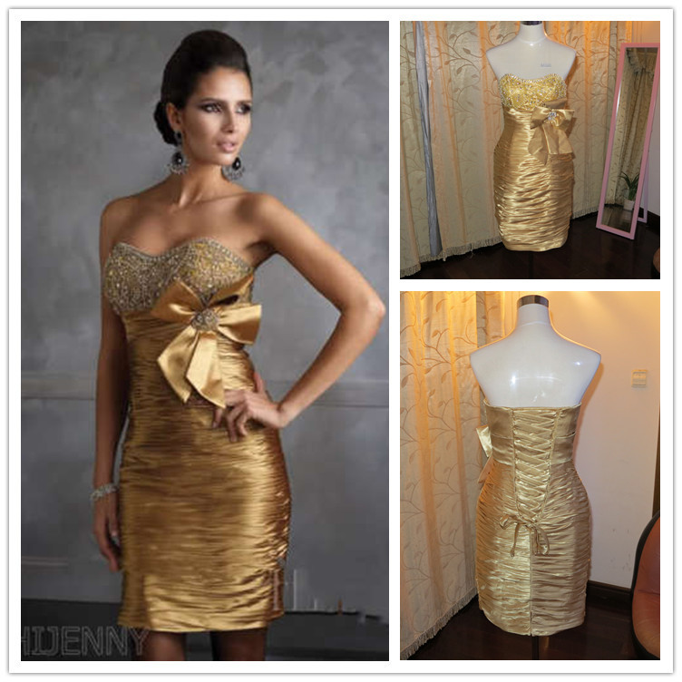 Free shipping Stock Sheath Sweetheart Bow Gold Lace Short Prom Dress Cocktail Dresses Custom made(China (Mainland))