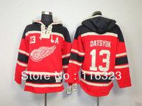 Wholesale- 2013 New Style Pavel Datsyuk #13 Red Hockey Hoodies Size:M~2XL+Mix Order,Free Shipping