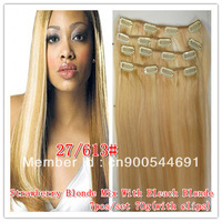 """2013 New Hot Sale 15""""18""""20""""22"""" 7 PCS Clip on/in 100% Remy Real hair extensions 27/613# FULL LACE ALL IN STOCK Clip in hair"""