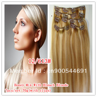 """2013 New Hot Sale 15""""18""""20""""22"""" 7 PCS Clip on/in 100% Remy Real hair extensions 12/613# FULL LACE ALL IN STOCK Clip in hair"""