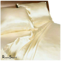 Rozene natural four piece bedding set smoothens silk champagne color