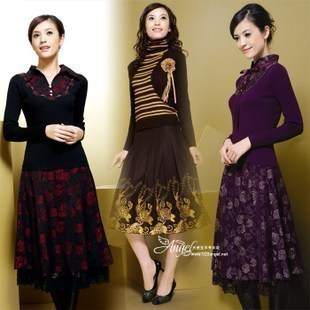 2012 quinquagenarian clothes mother clothing plus size middle-age women autumn and winter fashion dress one-piece skirt(China (Mainland))