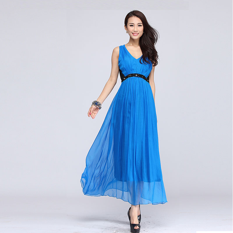 2013 new arrival beach dress summer silk V-neck vest dress free shiping(China (Mainland))