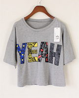 Free Shipping 2013 spring and summer yeah color block hiphop letter print loose short design t-shirt women's 2