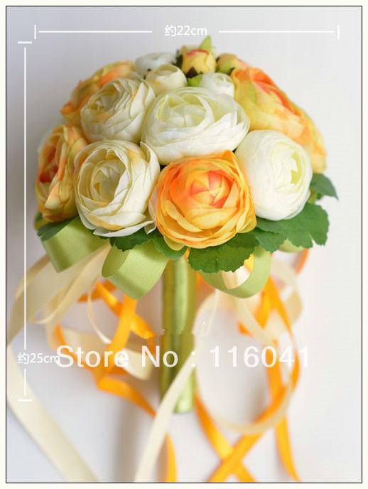 ... orange elfenbein tee rose hochzeit Brautstrauß brautstrauss werfen
