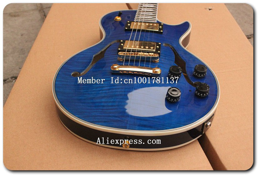 Free Shipping New Custom Shop Custom Hollow Body Jazz Electric Guitar in blue (Both Side Arch) 018(China (Mainland))